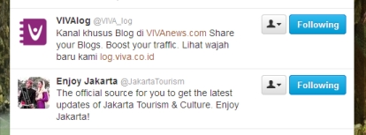 Screen shoot following akun Twitter @VIVA_log & @JakartaTourism
