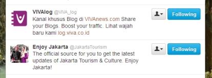 Screen shoot following akun Twitter @VIVA_log & @JakartaTourism
