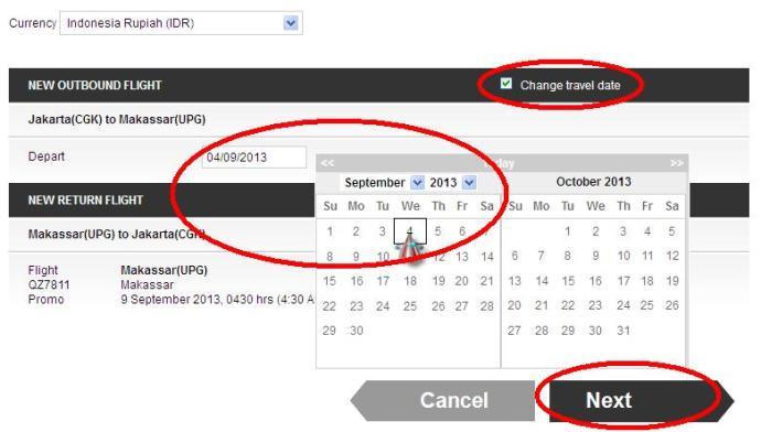 Pilih tanggal yang diinginkan